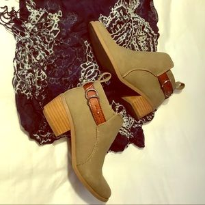 Camel suede ankle booties, 7.5.